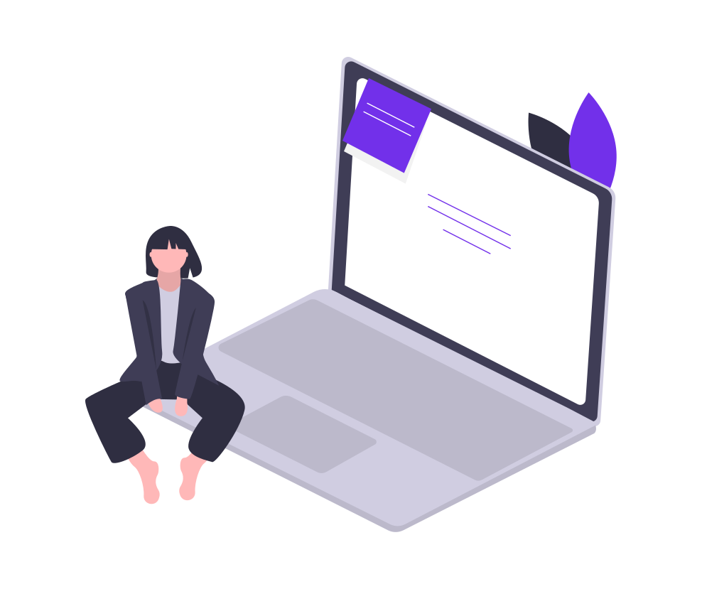 RackUp's blog writing services - girl sitting on a laptop with content displayed